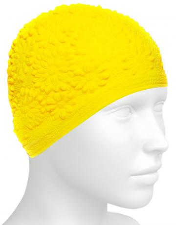 Латексная шапочка для плавания Hawaii ChrysantЛатексные шапочки<br>Латексная женская шапочка с цветочным дизайном<br><br>Цвет: Желтый