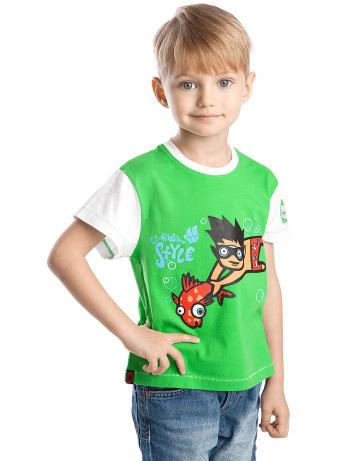 Спортивная футболка Fish BoyФутболки<br>Сортивная футболка для мальчиков. Декорирована аппликацией и нашивкой на рукаве.<br><br>Размер: M<br>Цвет: Зеленый