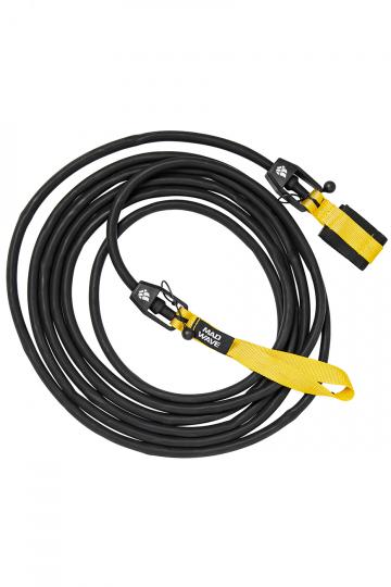 Тренажер для плавания Long Safety cordТренажеры<br>Тренажер для бассейна. Сменный 6 метровый трос растягивающийся до 20 метров с защитным тросом внутри, предохраняющим спортсмена в случае разрыва латексного троса. Сопротивление: 1,3 - 3,6 кг<br><br>Размер RU: 2,2-6,3 kg<br>Цвет: Черный