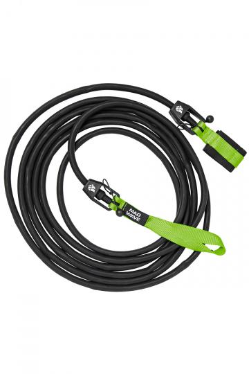 Тренажер для плавания Long Safety cordТренажеры<br>Тренажер для бассейна. Сменный 6 метровый трос растягивающийся до 20 метров с защитным тросом внутри, предохраняющим спортсмена в случае разрыва латексного троса. Сопротивление: 1,3 - 3,6 кг<br><br>Размер: 3,6-10,8 kg<br>Цвет: Черный