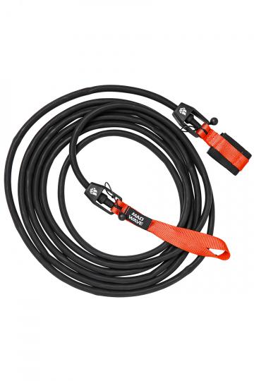 Тренажер для плавания Long Safety cordТренажеры<br>Тренажер для бассейна. Сменный 6 метровый трос растягивающийся до 20 метров с защитным тросом внутри, предохраняющим спортсмена в случае разрыва латексного троса. Сопротивление: 1,3 - 3,6 кг<br><br>Размер: 5,4-14,1 kg<br>Цвет: Черный