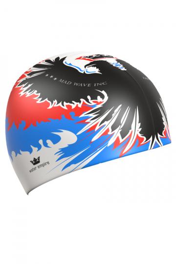 Силиконовая шапочка для плавания EMPIREСиликоновые шапочки<br>Силиконовая шапочка Mad Wave EMPIRE изготовлена из прочного гладкого силикона. Отличается высокой эластичностью, легко надевается,  благодаря чему подходит как взрослым так и подросткам от 10 лет. Плотно облегает голову, оставляя волосы относительно сухими, при этом не электризует волосы, не тянет и не выдирает их, поэтому прекрасно подходит и для тех, кто имеет длинные волосы.   Надежно защищает волосы и кожу головы от воздействия хлорированной воды в бассейне, обеспечивает безопасность во время плавания, защищая от попадания волос в глаза и под детали очков или купальника. Выполнена в стильном дизайне с российской символикой.<br><br>Размер: None<br>Цвет: Белый