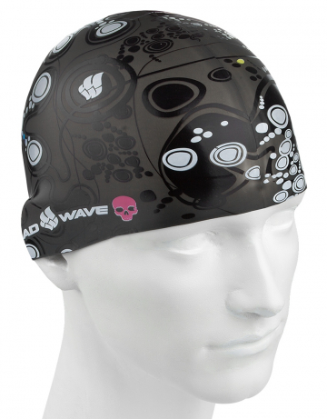 Силиконовая шапочка для плавания MELANCHOLICСиликоновые шапочки<br>Силиконовая шапочка с рисунком. Представлена в трех цветах.  Подходит для взрослых людей и подростков от 10-11 лет<br><br>Размер: None<br>Цвет: Черный