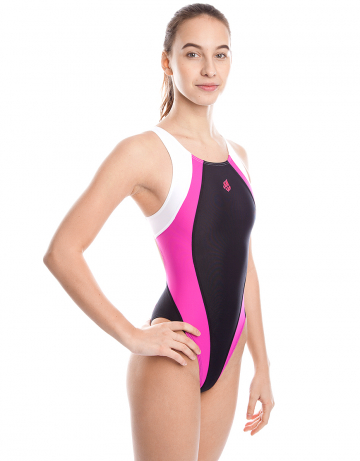 Спортивный купальник для плавания SolutionСпортивные купальники<br>Купальник слитный с формой спины Swift Back на подкладке спереди. Вырез бедра высокий. Серия ткани Training. Идеально подходит для частых тренировок.<br><br>Размер: L<br>Цвет: Фуксия