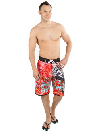 Мужские пляжные шорты NIGHTMAREМужские шорты<br>Шорты серфовые на шнуровке, сзади карман на молнии. Шорты изготовлены из ультра легкой эластичной ткани с водоотталкивающем покрытием. Такие характеристики материала позволяют изделию быстро сохнуть и создают комфорт в носке. Шнурки с силиконовой полосой создают лучшую фиксацию узла.<br><br>Размер: S (30)<br>Цвет: Красный