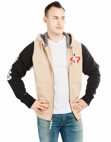 Спортивная толстовка куртка STPМужские куртки и толстовки<br>Куртка премиум качества. Спереди карманы. Застежка молния металлическая. Капюшон двойной. В капюшоне проходит тесьма. Рукава и низ куртки на двойной резинке. Модель декорирована апликацией и вышивкой. Использовано натуральное плотное чесаное полотно.<br><br>Размер INT: XXL<br>Цвет: Бежевый