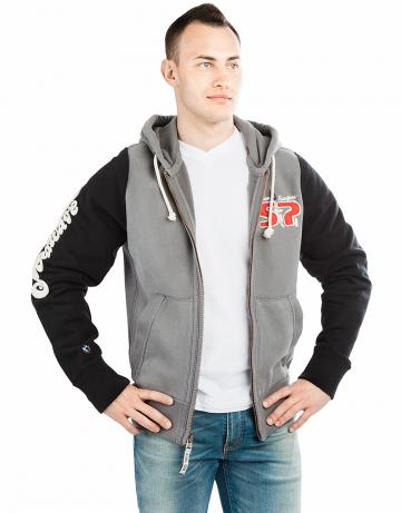 Спортивная толстовка куртка STPМужские куртки и толстовки<br>Куртка премиум качества. Спереди карманы. Застежка молния металлическая. Капюшон двойной. В капюшоне проходит тесьма. Рукава и низ куртки на двойной резинке. Модель декорирована апликацией и вышивкой. Использовано натуральное плотное чесаное полотно.<br><br>Размер INT: S<br>Цвет: Серый
