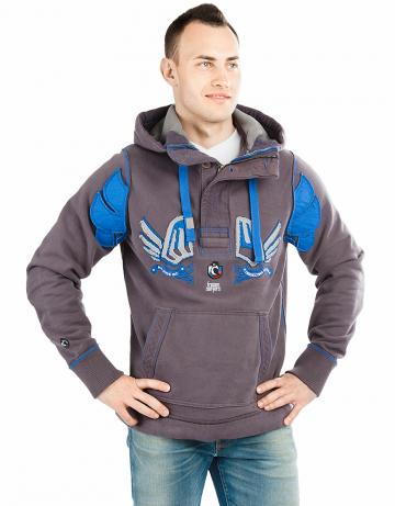 Спортивная толстовка куртка MWМужские куртки и толстовки<br>Куртка-пуловер премиум качества  с капюшоном. Застежка горловины на молнию и пуговицы. Спереди карман-кенгуру. Капюшон на подкладке с утеплителем. В капюшоне проходит тесьма. Рукава и низ куртки на двойной резинке. Модель декорирована апликацией и вышивкой. Использовано натуральное плотное чесаное полотно.<br><br>Размер INT: XL<br>Цвет: Серый