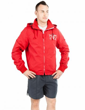 Спортивная толстовка куртка STP WIND BREAKERМужские куртки и толстовки<br>Укороченная спортивная куртка на подкладке с капюшоном. Спереди карманы. Застежка молния металлическая. В капюшоне проходит тесьма. Рукава на двойной резинке. Модель декорирована апликацией и вышивкой. Идеально подойдет к джинсам.<br><br>Размер INT: S<br>Цвет: Красный