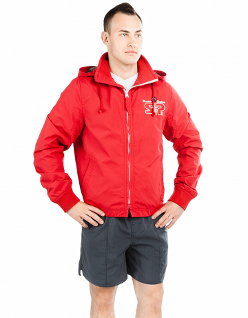 Спортивная толстовка куртка STP WIND BREAKERМужские куртки и толстовки<br>Укороченная спортивная куртка на подкладке с капюшоном. Спереди карманы. Застежка молния металлическая. В капюшоне проходит тесьма. Рукава на двойной резинке. Модель декорирована апликацией и вышивкой. Идеально подойдет к джинсам.<br><br>Размер INT: XL<br>Цвет: Красный