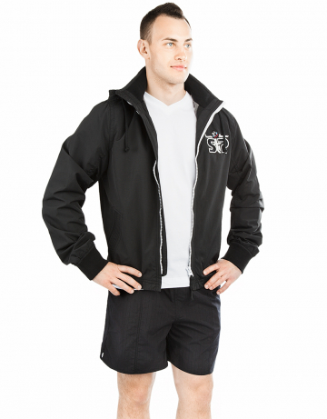 Спортивная толстовка куртка STP WIND BREAKERМужские куртки и толстовки<br>Укороченная спортивная куртка на подкладке с капюшоном. Спереди карманы. Застежка молния металлическая. В капюшоне проходит тесьма. Рукава на двойной резинке. Модель декорирована апликацией и вышивкой. Идеально подойдет к джинсам.<br><br>Размер INT: S<br>Цвет: Черный