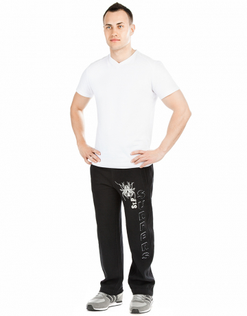 Мужские спортивные брюки FROZEN SERFERSМужские спортивные брюки<br>Брюки премиум  качества с заниженной талией. Пояс  на двойной резинке, внутри проходит тесьма. Модель декорирована апликацией и вышивкой. Использовано натуральное плотное чесаное полотно.<br><br>Размер: S<br>Цвет: Черный