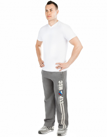 Мужские спортивные брюки MOSCOW - PITERМужские спортивные брюки<br>Брюки премиум  качества с заниженной талией . Пояс  на двойной резинке, внутри проходит тесьма. Модель декорирована апликацией и вышивкой. Использовано натуральное плотное чесаное полотно.<br><br>Размер INT: XL<br>Цвет: Серый