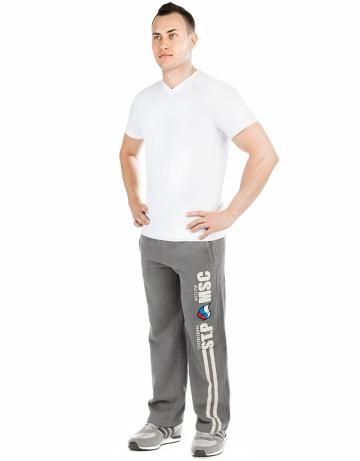 Мужские спортивные брюки MOSCOW - PITERМужские спортивные брюки<br>Брюки премиум  качества с заниженной талией . Пояс  на двойной резинке, внутри проходит тесьма. Модель декорирована апликацией и вышивкой. Использовано натуральное плотное чесаное полотно.<br><br>Размер INT: XXL<br>Цвет: Серый