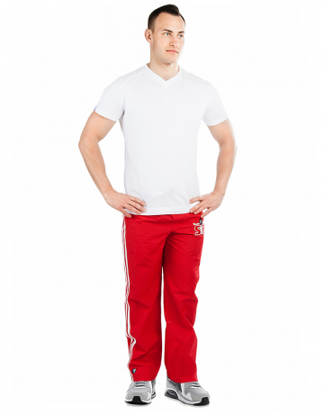 Мужские спортивные брюки STP WIND BREAKERМужские спортивные брюки<br>Спортивные брюки с заниженной талией. Подкладка - сетка. В поясе эластичная тесьма и шнурки. Спереди карманы. Внизу брюк молнии. Модель декорирована лампасами и апликацией. Идеально для тренировкок в зале и на улице .<br><br>Размер INT: S<br>Цвет: Красный
