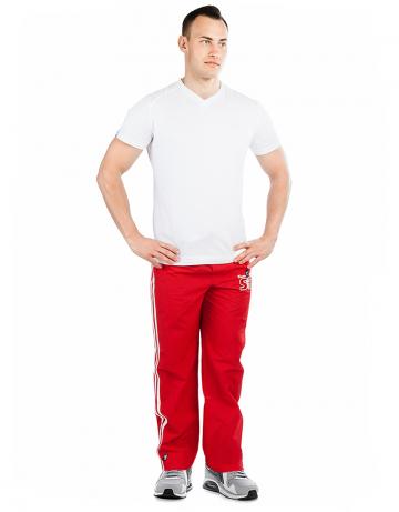 Мужские спортивные брюки STP WIND BREAKERМужские спортивные брюки<br>Спортивные брюки с заниженной талией. Подкладка - сетка. В поясе эластичная тесьма и шнурки. Спереди карманы. Внизу брюк молнии. Модель декорирована лампасами и апликацией. Идеально для тренировкок в зале и на улице .<br><br>Размер INT: M<br>Цвет: Красный