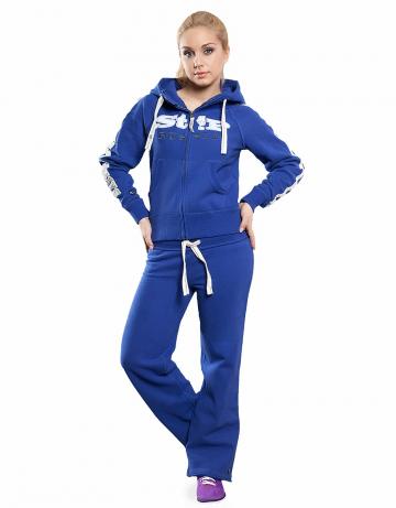 Женские спортивные брюки STP COOL BREAKERЖенские спортивные брюки<br>Брюки премиум  качества с заниженной талией . Пояс  на двойной резинке, внутри проходит тесьма. Модель декорирована апликацией и вышивкой. Использовано натуральное плотное чесаное полотно.<br><br>Размер: S<br>Цвет: Синий