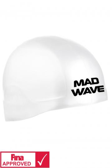 Силиконовая шапочка для плавания R-CAP FINA ApprovedСиликоновые шапочки<br>Силиконовая шапочка Mad Wave R-CAP FINA Approved изготовлена с помощью технологии 3х мерного инжектирования. Переменная толщина и эластичность позволяют добиться идеальной посадки . R-CAP FINA Approved стартовая шапочка, она идеальна для соревнований. Представлена в 2 размерах. Размер S на обхваты головы до 58 см. Размер L на обхваты головы от 58-65 см. Шапочка не закрывает уши. Сертифицирована международной федерацией плавания.<br><br>Размер INT: S<br>Цвет: Белый