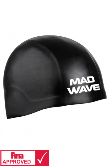 Силиконовая шапочка для плавания R-CAP FINA ApprovedСиликоновые шапочки<br>Силиконовая шапочка Mad Wave R-CAP FINA Approved изготовлена с помощью технологии 3х мерного инжектирования. Переменная толщина и эластичность позволяют добиться идеальной посадки . R-CAP FINA Approved стартовая шапочка, она идеальна для соревнований. Представлена в 2 размерах. Размер S на обхваты головы до 58 см. Размер L на обхваты головы от 58-65 см. Шапочка не закрывает уши. Сертифицирована международной федерацией плавания.<br><br>Размер INT: L<br>Цвет: Черный