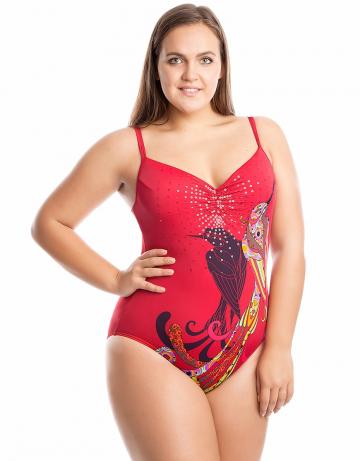 Женский пляжный купальник DianaПляжные купальники<br>Сплошной купальник <br>В подкладке лифа формованные чашки. <br>Внутренний пояс под грудью и закрытая спинка создают поддерживающий эффект.<br><br>Размер: 44<br>Цвет: Красный