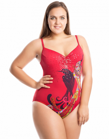 Женский пляжный купальник DianaПляжные купальники<br>Сплошной купальник <br>В подкладке лифа формованные чашки. <br>Внутренний пояс под грудью и закрытая спинка создают поддерживающий эффект.<br><br>Размер: 46<br>Цвет: Красный