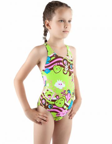 Детский купальник CARDSДетские купальники<br>Купальник спортивный слитный. Закрытая спина создает удобство на старте. Вырез бедра средний. Подходит как для спортивных тренировок, так и для отдыха.<br><br>Размер: L<br>Цвет: Зеленый