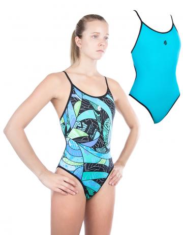 Спортивный купальник для плавания DuoСпортивные купальники<br>Купальник слитный двухсторонний с формой спины Light Back. Вырез бедра высокий. По всем срезам проходит окантовка. Модель подходит как для тренировок, так и для отдыха.<br><br>Размер INT: XL<br>Цвет: Бирюзовый