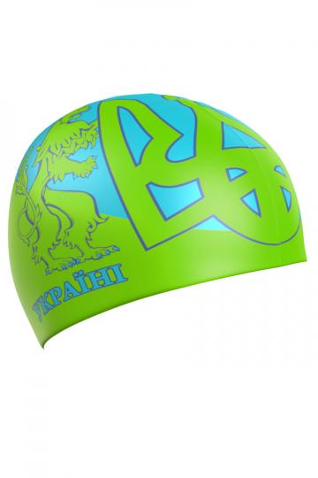 Силиконовая шапочка для плавания UKRAINEСиликоновые шапочки<br>Силиковая шапочка с национальной символикой. Подходит для взрослых людей и подростков от 10-11 лет.<br><br>Размер: None<br>Цвет: Зеленый