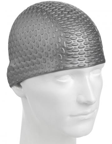Силиконовая шапочка для плавания Silicone BubbleСиликоновые шапочки<br>Силиконовая шапочка с дополнительным объёмом для длинных волос сзади. Пузырьковая поверхность уменьшает площадь соприкосновения с волосами.<br><br>Цвет: Серебро
