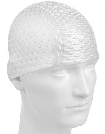 Силиконовая шапочка для плавания Silicone BubbleСиликоновые шапочки<br>Силиконовая шапочка с дополнительным объёмом для длинных волос сзади. Пузырьковая поверхность уменьшает площадь соприкосновения с волосами.<br><br>Цвет: Белый