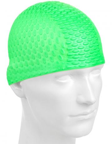 Силиконовая шапочка для плавания Silicone BubbleСиликоновые шапочки<br>Силиконовая шапочка с дополнительным объёмом для длинных волос сзади. Пузырьковая поверхность уменьшает площадь соприкосновения с волосами.<br><br>Цвет: Зеленый