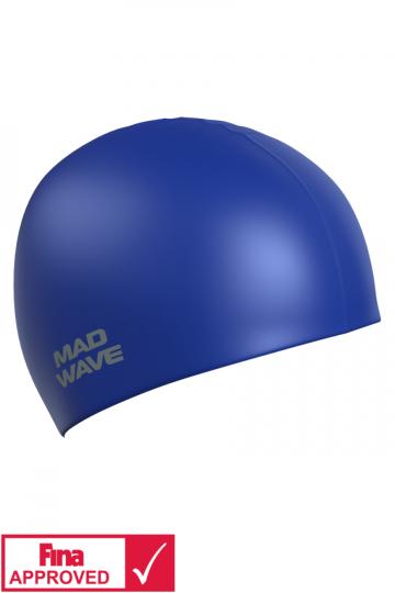 Силиконовая шапочка для плавания Intensive Silicone SolidСиликоновые шапочки<br>Силиконовая шапочка Mad Wave Intensive Silicone Solid изготовлена из высококачественного 100% силикона.Хорошо тянется, легко надевается,  благодаря чему подходит как взрослым так и подросткам от 10 лет. Плотно облегает голову, оставляя волосы относительно сухими, при этом не электризует волосы, не тянет и не выдирает их, поэтому прекрасно подходит и для тех, кто имеет длинные волосы. Надежно защищает волосы и кожу головы от воздействия хлорированной воды в бассейне, обеспечивает безопасность во время плавания, защищая от попадания волос в глаза и под детали очков или купальника. Она сохраняет цвет, форму и высокую эластичность на протяжении всего срока службы. Сертифицирована международной федерацией плавания. Шапочки Intensive Silicone Solid имеют большой выбор ярких однотонных расцветок. Сертифицированы международной федерацией плавания.<br><br>Цвет: Синий