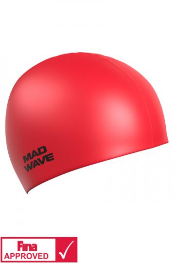 Силиконовая шапочка для плавания Intensive Silicone SolidСиликоновые шапочки<br>Силиконовая шапочка Mad Wave Intensive Silicone Solid изготовлена из высококачественного 100% силикона.Хорошо тянется, легко надевается,  благодаря чему подходит как взрослым так и подросткам от 10 лет. Плотно облегает голову, оставляя волосы относительно сухими, при этом не электризует волосы, не тянет и не выдирает их, поэтому прекрасно подходит и для тех, кто имеет длинные волосы. Надежно защищает волосы и кожу головы от воздействия хлорированной воды в бассейне, обеспечивает безопасность во время плавания, защищая от попадания волос в глаза и под детали очков или купальника. Она сохраняет цвет, форму и высокую эластичность на протяжении всего срока службы. Сертифицирована международной федерацией плавания. Шапочки Intensive Silicone Solid имеют большой выбор ярких однотонных расцветок. Сертифицированы международной федерацией плавания.<br><br>Цвет: Красный