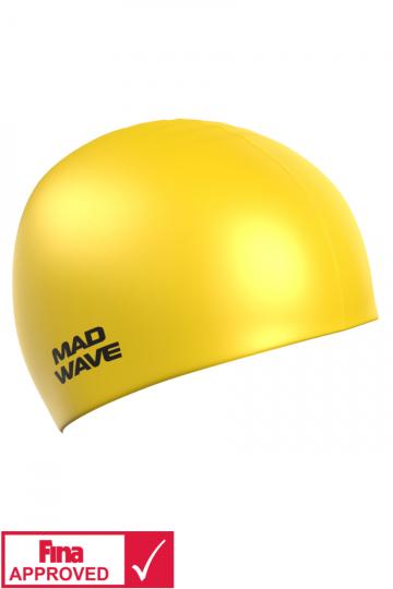 Силиконовая шапочка для плавания Intensive Silicone SolidСиликоновые шапочки<br>Силиконовая шапочка Mad Wave Intensive Silicone Solid изготовлена из высококачественного 100% силикона.Хорошо тянется, легко надевается,  благодаря чему подходит как взрослым так и подросткам от 10 лет. Плотно облегает голову, оставляя волосы относительно сухими, при этом не электризует волосы, не тянет и не выдирает их, поэтому прекрасно подходит и для тех, кто имеет длинные волосы. Надежно защищает волосы и кожу головы от воздействия хлорированной воды в бассейне, обеспечивает безопасность во время плавания, защищая от попадания волос в глаза и под детали очков или купальника. Она сохраняет цвет, форму и высокую эластичность на протяжении всего срока службы. Сертифицирована международной федерацией плавания. Шапочки Intensive Silicone Solid имеют большой выбор ярких однотонных расцветок. Сертифицированы международной федерацией плавания.<br><br>Цвет: Желтый