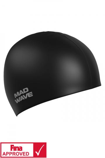 Силиконовая шапочка для плавания Intensive Silicone SolidСиликоновые шапочки<br>Силиконовая шапочка Mad Wave Intensive Silicone Solid изготовлена из высококачественного 100% силикона.Хорошо тянется, легко надевается,  благодаря чему подходит как взрослым так и подросткам от 10 лет. Плотно облегает голову, оставляя волосы относительно сухими, при этом не электризует волосы, не тянет и не выдирает их, поэтому прекрасно подходит и для тех, кто имеет длинные волосы. Надежно защищает волосы и кожу головы от воздействия хлорированной воды в бассейне, обеспечивает безопасность во время плавания, защищая от попадания волос в глаза и под детали очков или купальника. Она сохраняет цвет, форму и высокую эластичность на протяжении всего срока службы. Сертифицирована международной федерацией плавания. Шапочки Intensive Silicone Solid имеют большой выбор ярких однотонных расцветок. Сертифицированы международной федерацией плавания.<br><br>Цвет: Черный