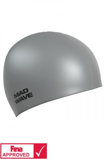 Силиконовая шапочка для плавания Intensive Silicone SolidСиликоновые шапочки<br>Силиконовая шапочка Mad Wave Intensive Silicone Solid изготовлена из высококачественного 100% силикона.Хорошо тянется, легко надевается,  благодаря чему подходит как взрослым так и подросткам от 10 лет. Плотно облегает голову, оставляя волосы относительно сухими, при этом не электризует волосы, не тянет и не выдирает их, поэтому прекрасно подходит и для тех, кто имеет длинные волосы. Надежно защищает волосы и кожу головы от воздействия хлорированной воды в бассейне, обеспечивает безопасность во время плавания, защищая от попадания волос в глаза и под детали очков или купальника. Она сохраняет цвет, форму и высокую эластичность на протяжении всего срока службы. Сертифицирована международной федерацией плавания. Шапочки Intensive Silicone Solid имеют большой выбор ярких однотонных расцветок. Сертифицированы международной федерацией плавания.<br><br>Цвет: Серый