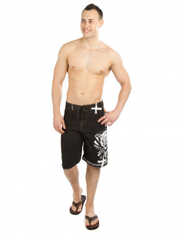 Мужские пляжные шорты WolfmanМужские шорты<br>Шорты серфовые без боковых швов на шнуровке. На задней детали прорезной карман. Шнурки с силиконовой полосой создают лучшую фиксацию узла. Длина бокового шва 55 см.<br><br>Размер: L (34)<br>Цвет: Черный