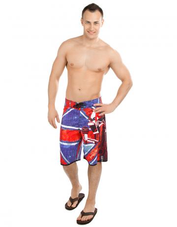 Мужские пляжные шорты UK TRASHМужские шорты<br>Шорты серфовые без боковых швов на шнуровке. На задней детали прорезной карман. Длина бокового шва 55 см.<br><br>Размер: S (30)<br>Цвет: Красный