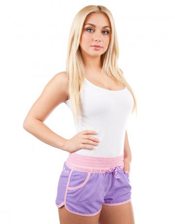 Женские пляжные шорты Women SolidЖенские шорты<br>Шорты пляжные на широком эластичном поясе со шнурком. Спереди  расположены карманы. Шорты декорированы вышивкой.<br><br>Размер INT: M<br>Цвет: Фиолетовый