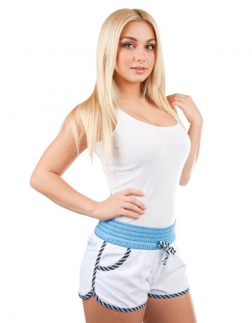 Женские пляжные шорты Women SolidЖенские шорты<br>Шорты пляжные на широком эластичном поясе со шнурком. Спереди  расположены карманы. Шорты декорированы вышивкой.<br><br>Размер: XS<br>Цвет: Синий