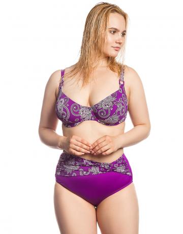 Женский пляжный купальник LauraПляжные купальники<br>Раздельный купальник. Лиф - мягкая чашка на каркасах. Плавки-шорты с широким поясом спереди. Декорирован квадратными пряжками.<br><br>Размер: 42E<br>Цвет: Фиолетовый