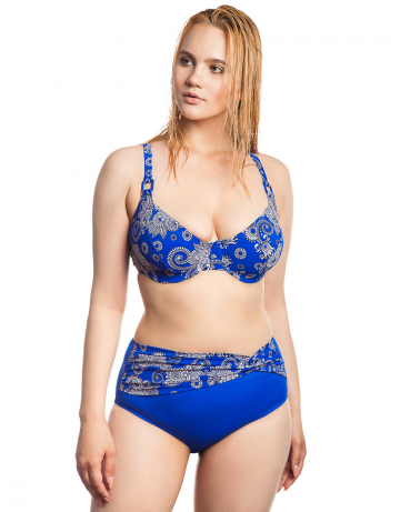 Женский пляжный купальник LauraПляжные купальники<br>Раздельный купальник. Лиф - мягкая чашка на каркасах. Плавки-шорты с широким поясом спереди. Декорирован квадратными пряжками.<br><br>Размер: 42E<br>Цвет: Синий