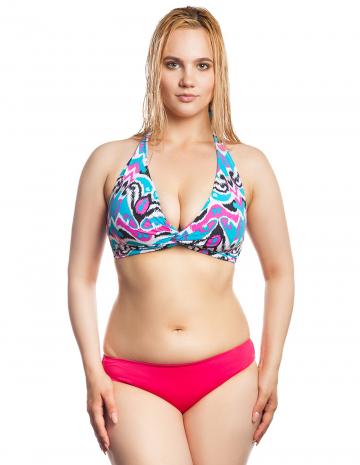 Женский пляжный купальник Shangri-LaПляжные купальники<br>Раздельный купальник. Лиф - формованная чашка, декорирован драпировкой. трусики с заниженной талией.<br><br>Размер: 38E<br>Цвет: Розовый