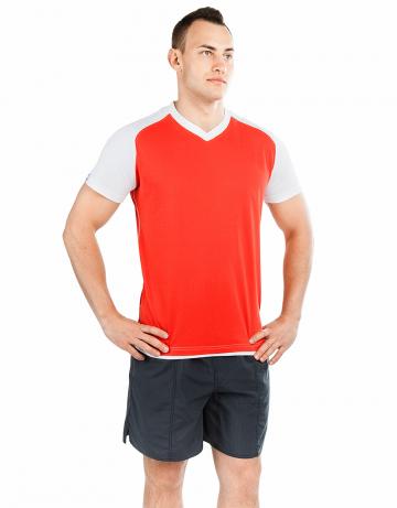 Спортивная футболка PROMO MENФутболки<br>Мужская футболка с коротким рукавом. V-образный вырез горловины. Приталенный силуэт. Представлена в нескольких цветах.<br><br>Размер INT: L<br>Цвет: Красный