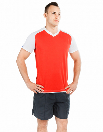 Спортивная футболка PROMO MENФутболки<br>Мужская футболка с коротким рукавом. V-образный вырез горловины. Приталенный силуэт. Представлена в нескольких цветах.<br><br>Размер INT: XXL<br>Цвет: Красный