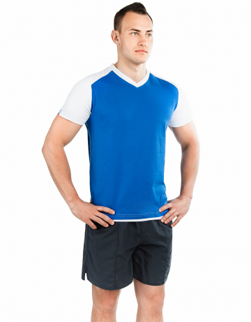 Спортивная футболка PROMO MENФутболки<br>Мужская футболка с коротким рукавом. V-образный вырез горловины. Приталенный силуэт. Представлена в нескольких цветах.<br><br>Размер: S<br>Цвет: Синий