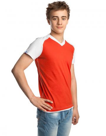 Спортивная футболка PROMO JUNIORФутболки<br>Юниорская футболка с коротким рукавом. V - образный вырез горловины.<br><br>Размер: S<br>Цвет: Красный