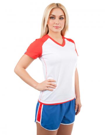 Спортивная футболка PROMO WOMENФутболки<br>Женская футболка с коротким рукавом. V - образный вырез горловины. Приталенный силуэт.<br><br>Размер INT: XS<br>Цвет: Красный