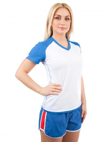 Спортивная футболка PROMO WOMENФутболки<br>Женская футболка с коротким рукавом. V - образный вырез горловины. Приталенный силуэт.<br><br>Размер INT: XS<br>Цвет: Синий