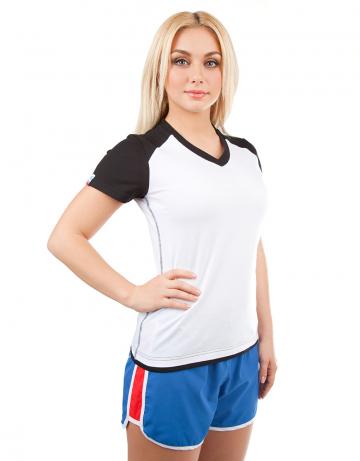 Спортивная футболка PROMO WOMENФутболки<br>Женская футболка с коротким рукавом. V - образный вырез горловины. Приталенный силуэт.<br><br>Размер INT: XS<br>Цвет: Черный